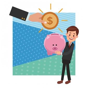 Geschäft geld sparen cartoon