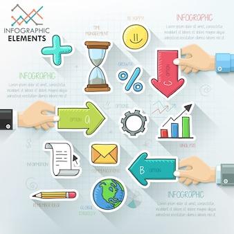Geschäft hände teamwork infografiken vorlage