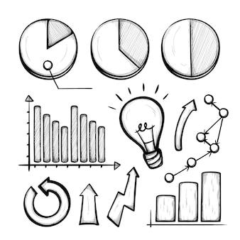 Geschäft hand gezeichnete infographik elemente