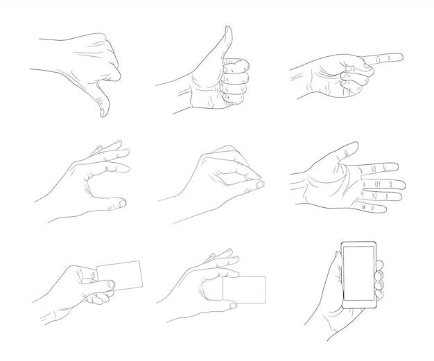 Geschäft handzeichen kontur