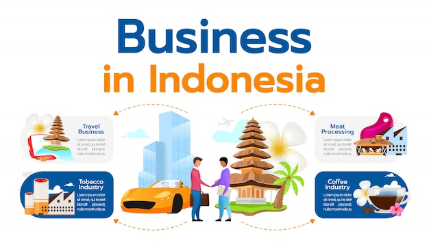 Geschäft in indonesien infografik vorlage. abbildung der industriesegmente. reise-, tabak-, kaffeeindustrie. fleischverarbeitung. poster, broschüre grafisches element mit comicfiguren