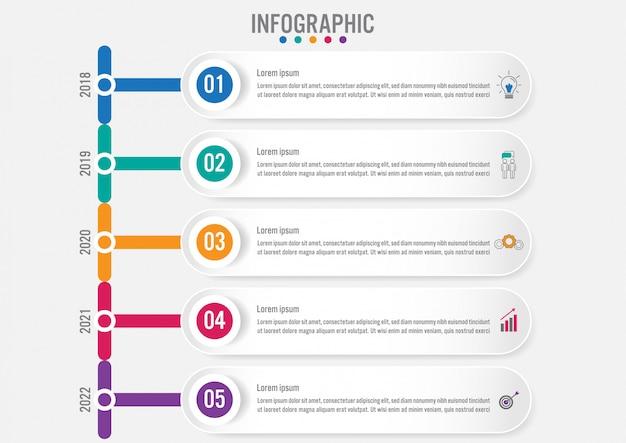 Geschäft infografik etiketten vorlage mit 5 optionen