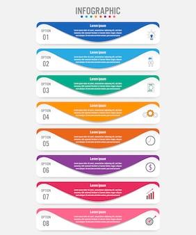 Geschäft infografik etiketten vorlage mit 8 optionen