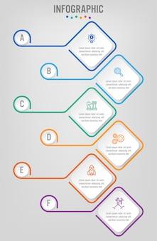 Geschäft infografik etiketten vorlage mit optionen