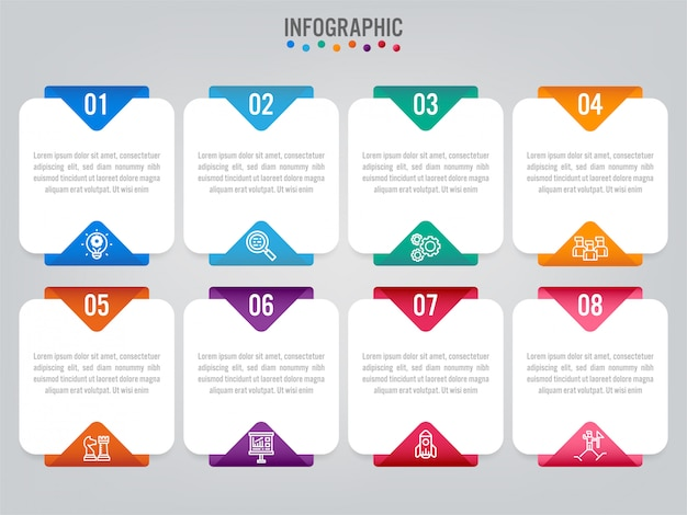 Geschäft infografik etiketten vorlage mit optionen.
