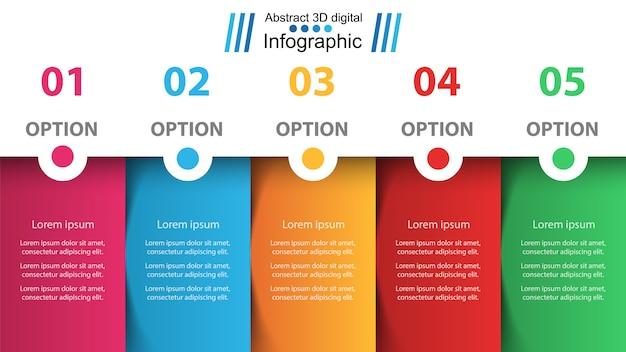 Geschäft infografik. fünf papierartikel.