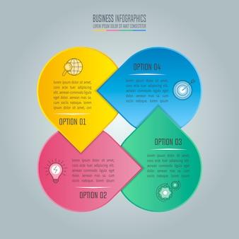 Geschäft infographic mit 4 wahlen.