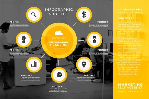 Geschäft infographic mit bildschablone