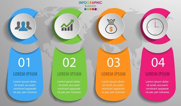Geschäft infographics diagramm mit 4 schritt- und geschäftsikonen