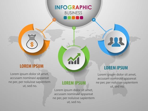 Geschäft infographics kreis mit schritt 3.