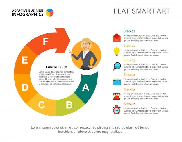 Geschäft infographics mit prozessdiagramm- und charakterikone.