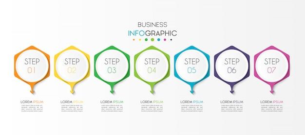 Geschäft infographik element mit 7 optionen oder schritten