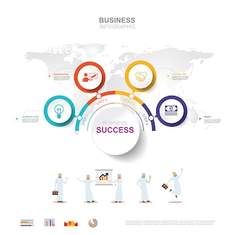 Geschäft infographik geschäftserfolg konzept mit diagramm