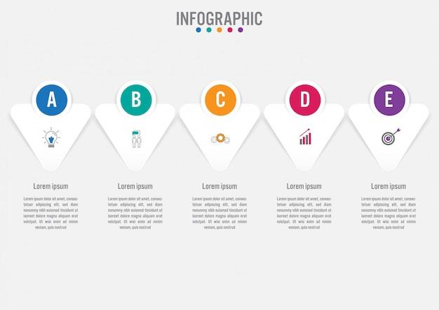 Geschäft infographik vorlage mit 5 optionen