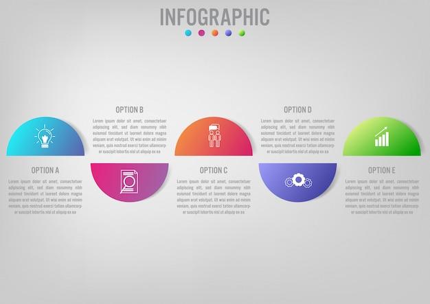 Geschäft infographik vorlage mit rundschreiben