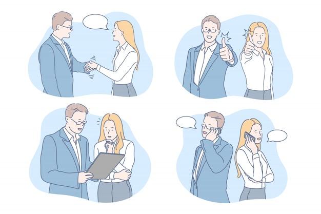 Geschäft, kommunikation, coworking-set-konzept