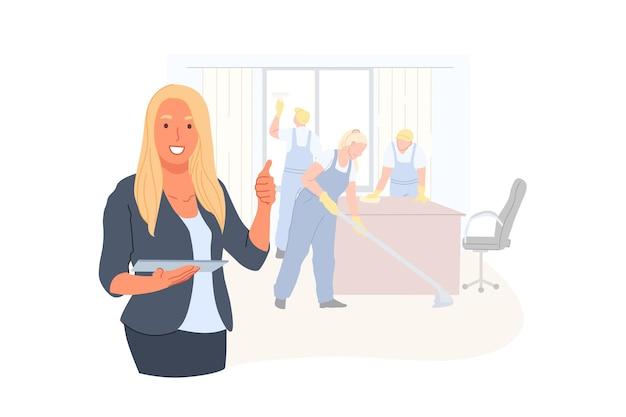 Geschäft, management, reinigungsunternehmen, werbekonzeptillustration