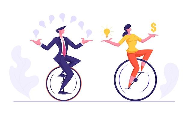 Geschäft mann und frau reiten monowheel jonglieren mit leuchtenden glühbirnen