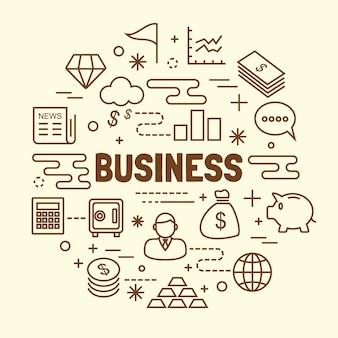 Geschäft minimale dünne linie icons set