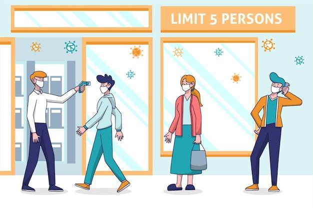 Geschäft mit begrenzter anzahl von personen design