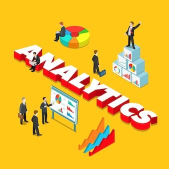 Geschäft mit flachem isometrischem analytics-stil