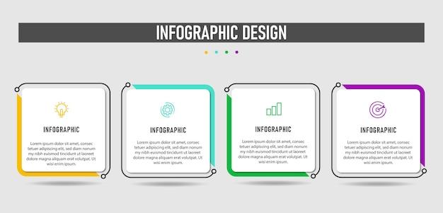 Geschäft mit infografik-vorlagen mit flachem design und 4 optionen.