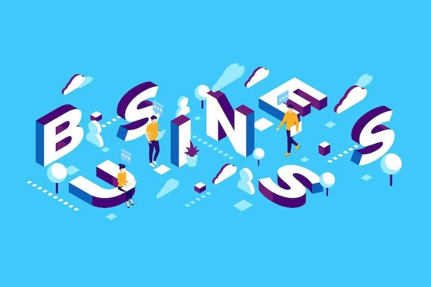 Geschäft mit isometrischen typografienachrichten