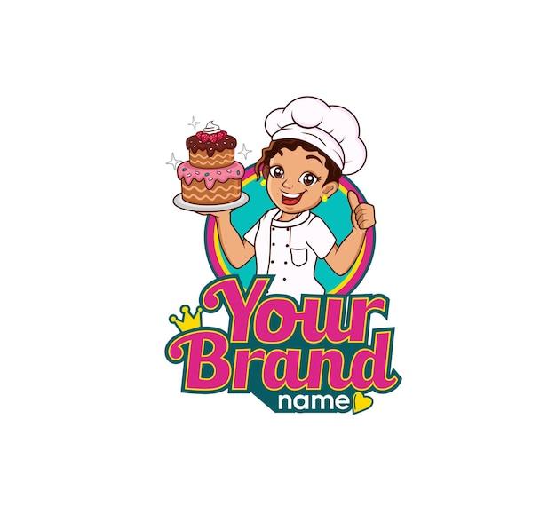 Geschäft mit maskottchen-logo-karikaturkoch-konditorei