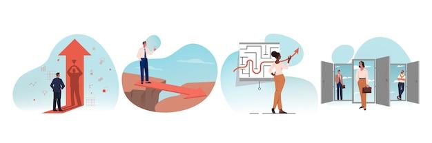 Geschäft, neue möglichkeiten, chance, motivation, gewinn, erfolg, zielerreichung setzen konzept. sammlung geschäftsleute weibliche manager finden problemlösung ablaufende karriereperspektiven illustration.