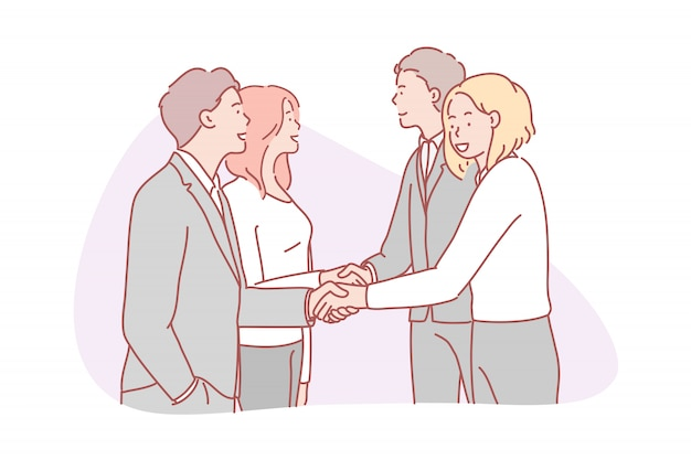 Geschäft, partnerschaft, zusammenarbeit, team, vertragskonzept