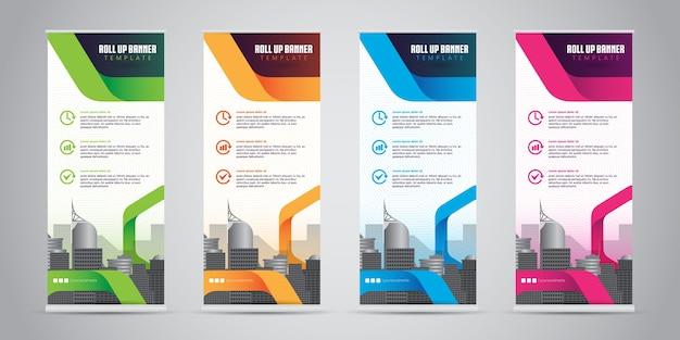 Geschäft rollen oben fahnen-stehplatz-design