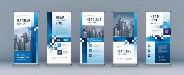 Geschäft rollup set. standee design. xbanner-vorlage