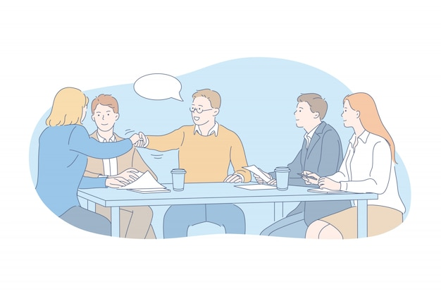 Geschäft, team, verhandlung, interviewkonzept