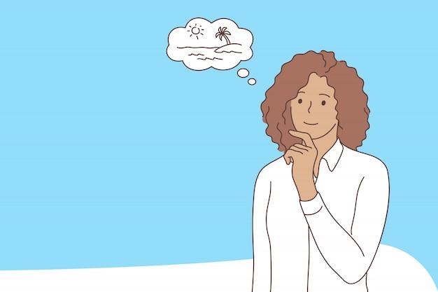 Geschäft, traum, urlaub, denkkonzept