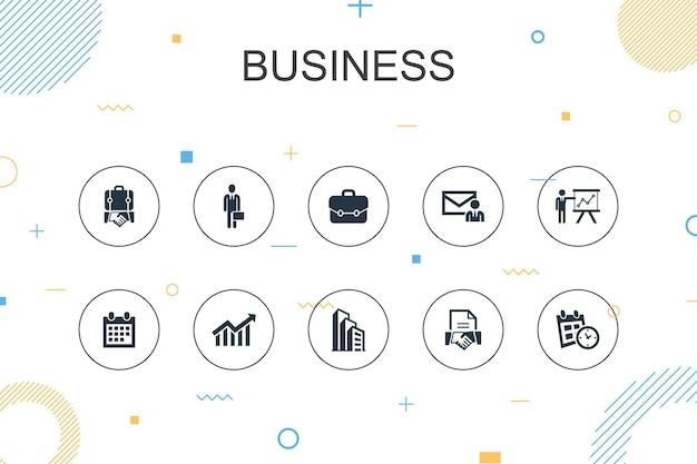 Geschäft trendige infografik-vorlage. dünnes liniendesign mit geschäftsmann, aktentasche, kalender, diagrammsymbolen