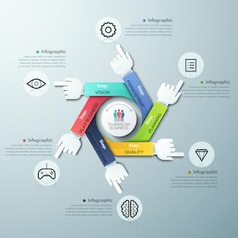 Geschäft übergibt teamwork infographics schablone
