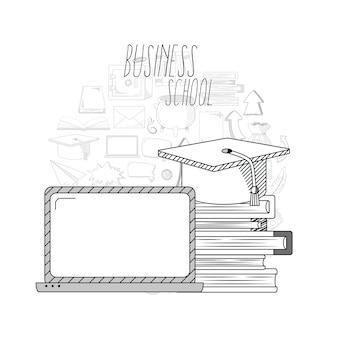 Geschäft und bildung kritzelt handabgehobenen betrag