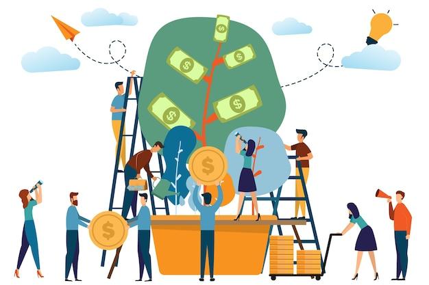 Geschäft und die anlage des geldkonzeptes. mann und frau aktivitäten mit baum des geldes und w