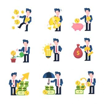Geschäft und finanzen illustration flacher designstil, reich, verlust, einsparungen, unternehmenswachstum, idee, geldstrategie, gewinn, beschützer, geldwechsler