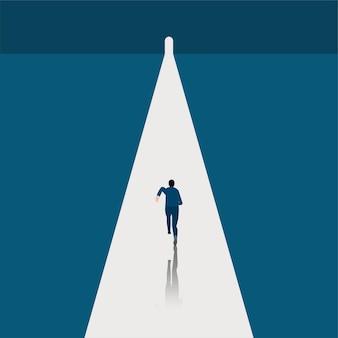 Geschäft und ziel, geschäftsmann läuft auf dem symbol des endes der dunklen zeiten, hoffnung am horizont geht zum erfolg in der karriere. konzeptgeschäft, leistung, charakter, führer, vektorillustration flach