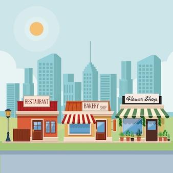 Geschäfte in der stadtlandschaft