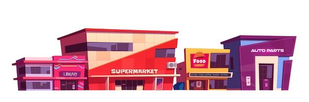 Geschäfte und geschäftsgebäude außen lokalisiert auf weißem hintergrund. cartoon-set von café-, bibliotheks- und supermarktfassade. moderne stadtarchitektur des autoteilespeichers