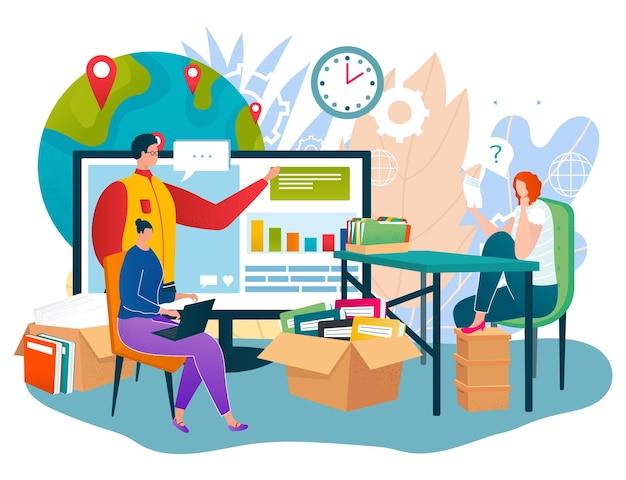 Geschäftliche arbeit in der internet-technologie, vektorillustration. flache menschen mann frau charakter verwenden online-netzwerk, arbeiter sitzen in der nähe des planeten, kerl am digitalen bildschirm. globale unternehmenskommunikation per computer.