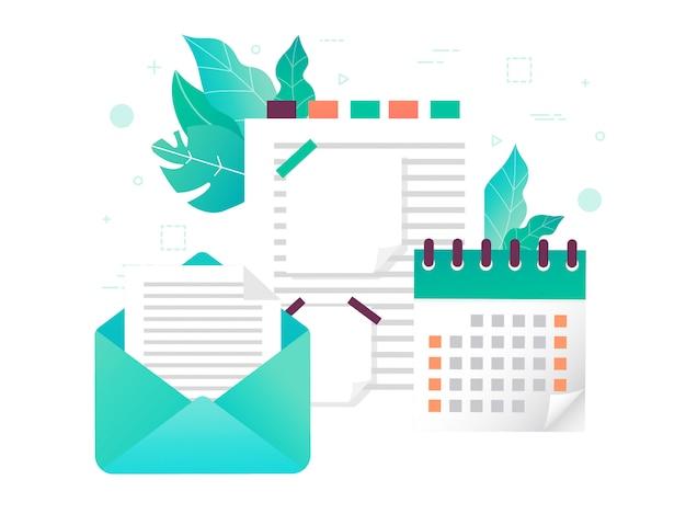 Geschäftliche planung. eine seite mit notizen. einen brief schreiben.