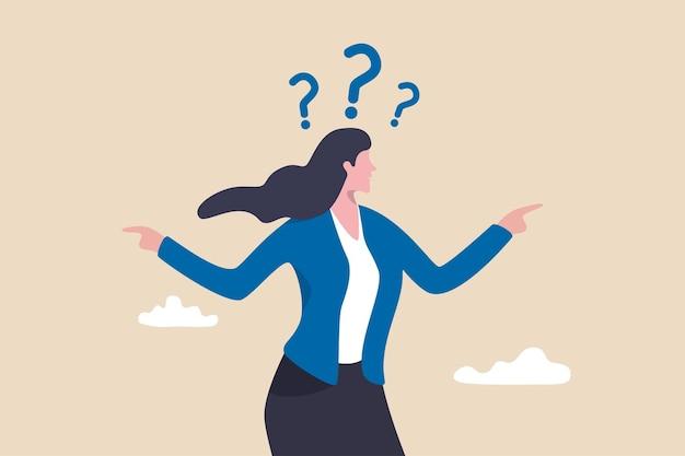 Geschäftliche zweifelswahl, entscheidung über die arbeitsrichtung, karriereweg oder option oder alternatives konzept wählen, zweifelhafte geschäftsfrau, die wahl wählt und mit dem finger auf die linke und rechte richtung zeigt.