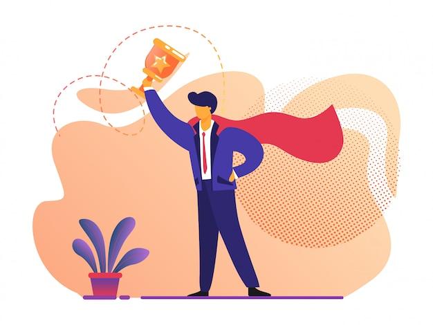 Geschäftlicher erfolg. mann im superheld-roten mantel, der in der hand goldbecher hält.