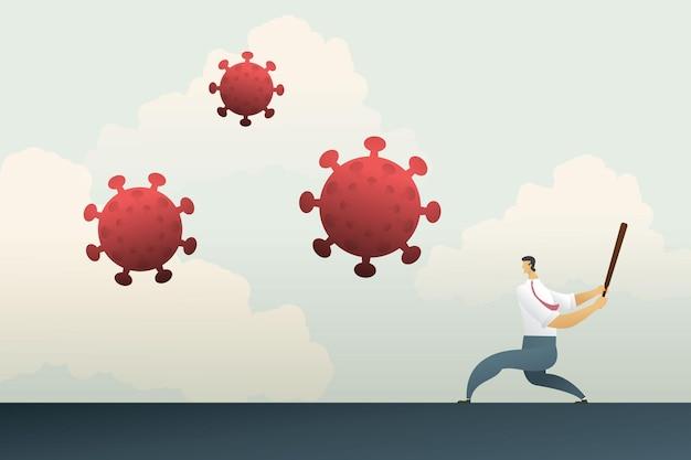 Geschäftlicher kampf gegen die krise des covid19-coronavirus