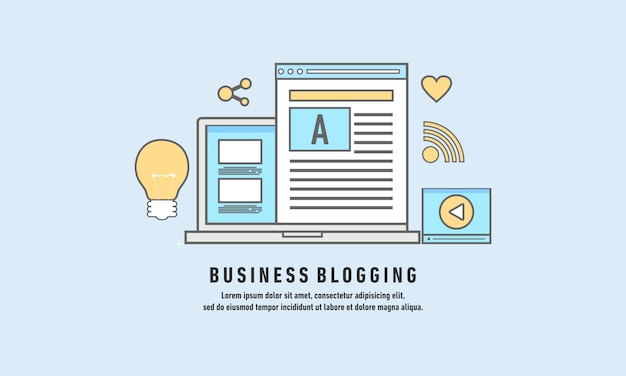 Geschäfts-blogging, handelsblogposting, design-vektorillustration des internet-blogging-services flache