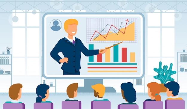 Geschäfts-coaching-on-line-flaches vektor-konzept