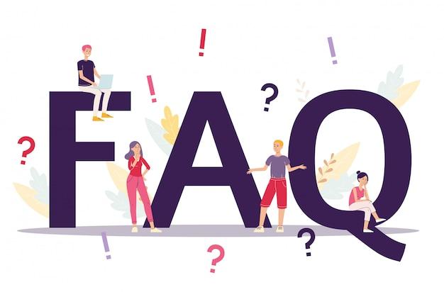 Geschäfts-faq-konzept von häufig gestellten fragen, flache vektorillustration isoliert. personen unter ausrufezeichen und fragezeichen in der webseitenvorlage.